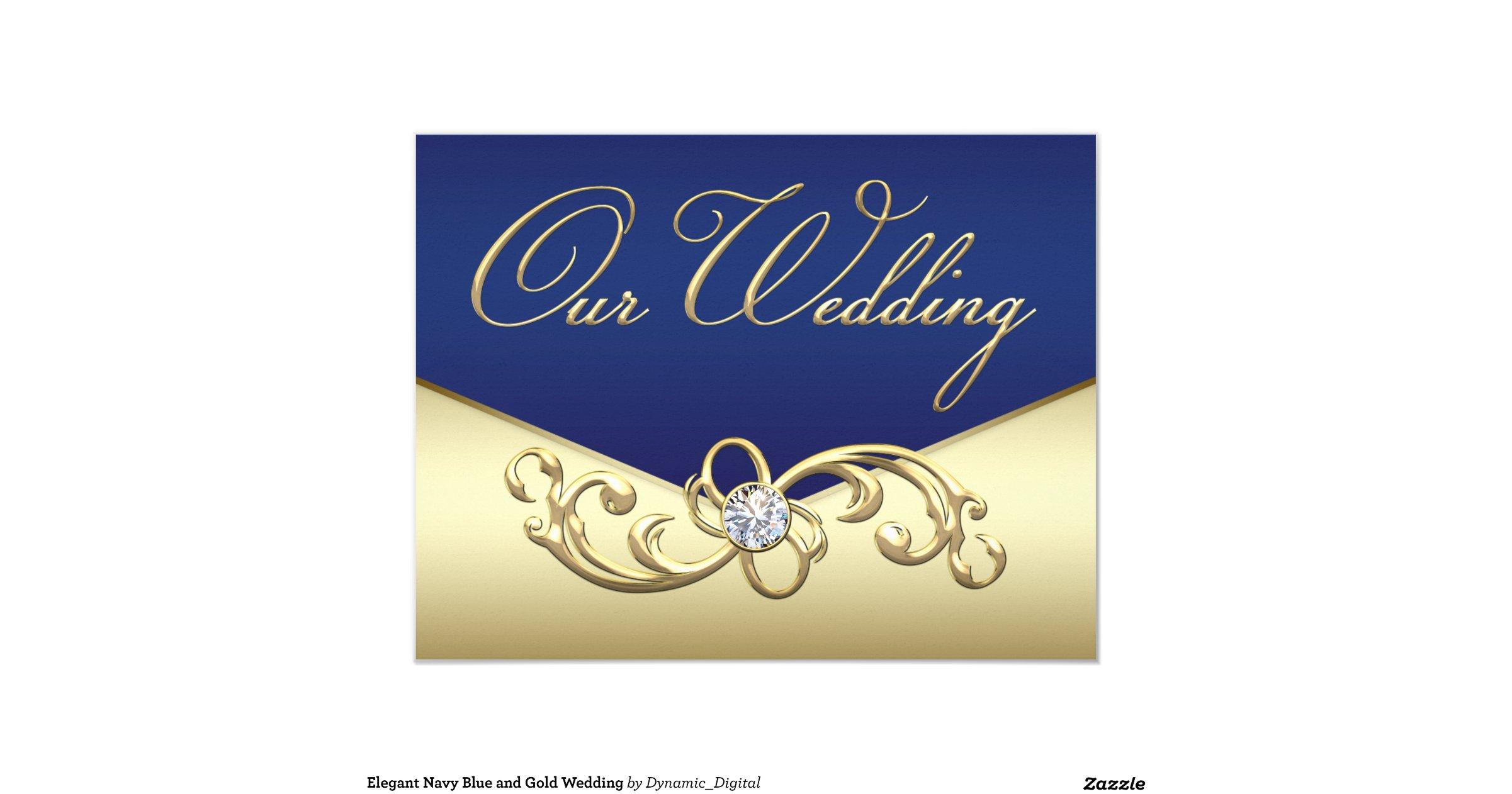 Navy Blue And Gold Wedding Invitations: Elegant Navy Blue And Gold Wedding 4.25x5.5 Paper