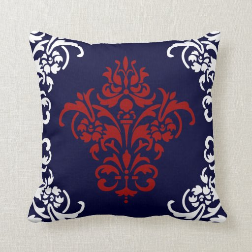 Elegant Navy Blue Red And White Damask Throw Pillow Zazzle