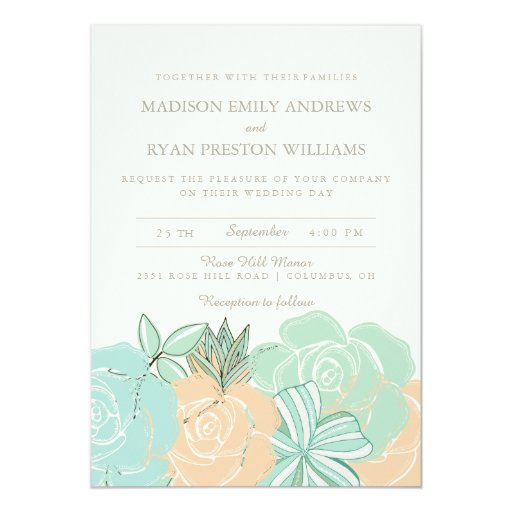 Floral Wedding Card Manufacturer From Hosur: Elegant Peach Roses Mint Floral Wedding Invitation
