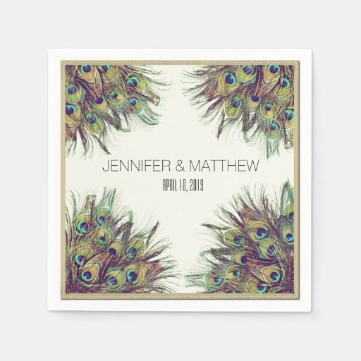 Painted Couple Peacock Wedding Gifts Unique Delicate Home: Elegant Peacock Feathers Personalized Wedding Paper Napkin