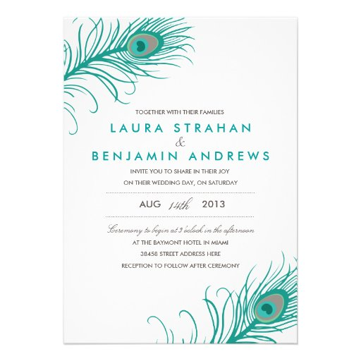 Personalized Peacock Feathers Invitations