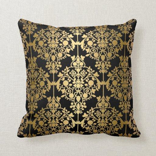elegant pillow black gold damask floral zazzle. Black Bedroom Furniture Sets. Home Design Ideas