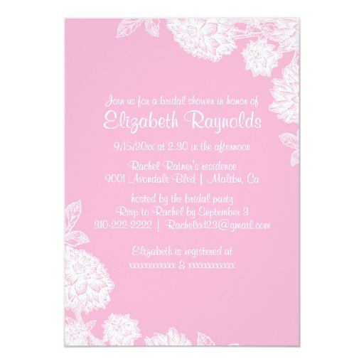 Elegant Pink Bridal Shower Invitations