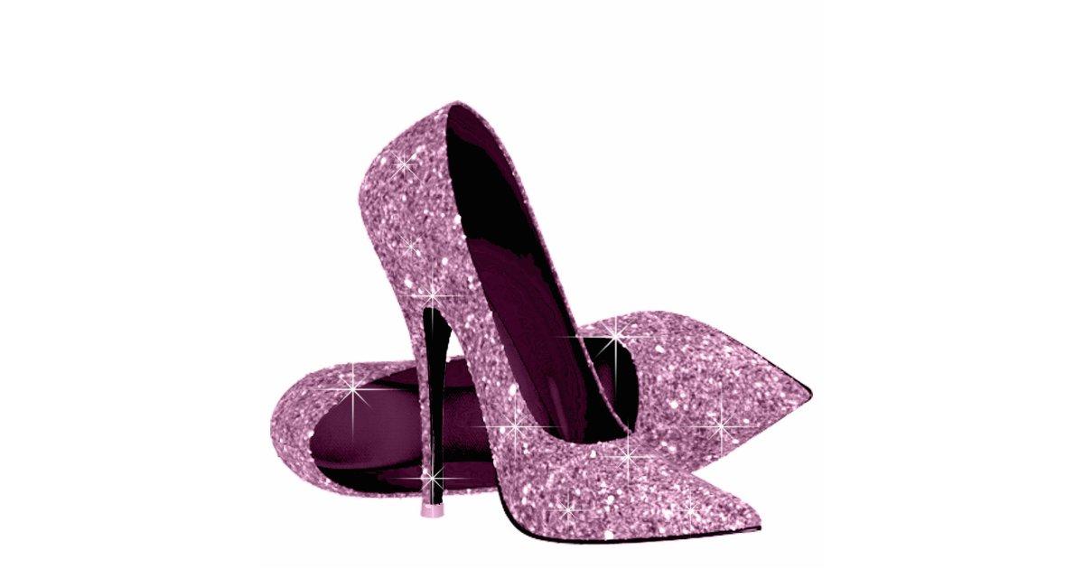 Purple Glitter High Heel Shoes