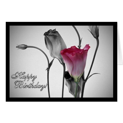 Elegant Pink Rose Happy Birthday Greeting Card
