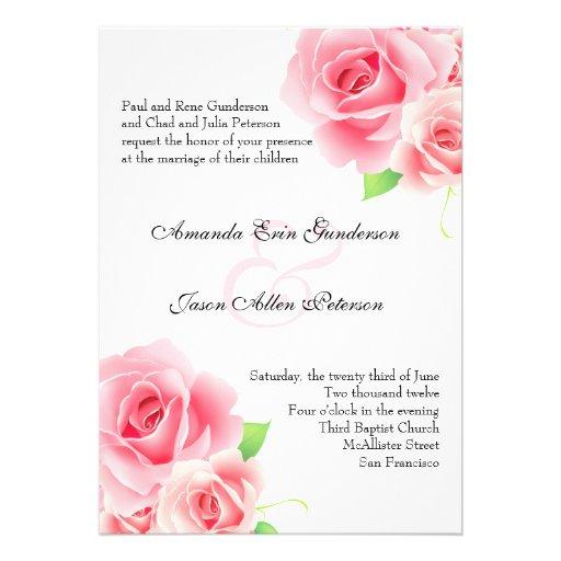 Elegant Pink Rose Wedding Invitation