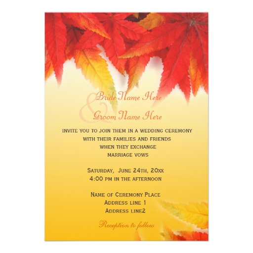 Elegant Fall Color Wedding Inviation: Elegant, Pretty Fall Wedding Invitations Personalized