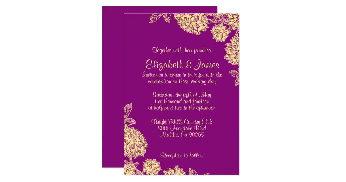 Purple And Gold Wedding Invitations: Elegant Purple And Gold Wedding Invitations