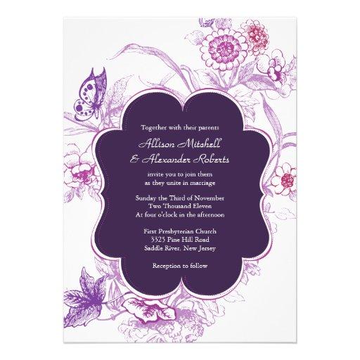 """Elegant Purple Wedding Invitations: Elegant Purple Butterfly Wedding Invitation 5"""" X 7"""