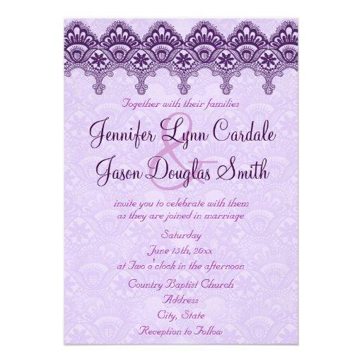 """Elegant Purple Wedding Invitations: Elegant Purple Damask Lace Wedding Invitations 5"""" X 7"""