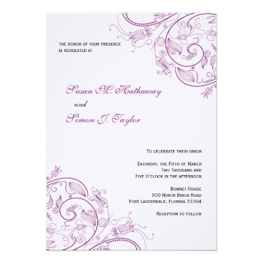Elegant Purple Wedding Invitations: Elegant Purple Floral Wedding Invitation