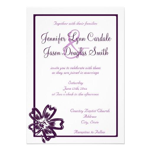 Elegant Purple Wedding Invitations: Elegant Purple Flower Art Wedding Invitations