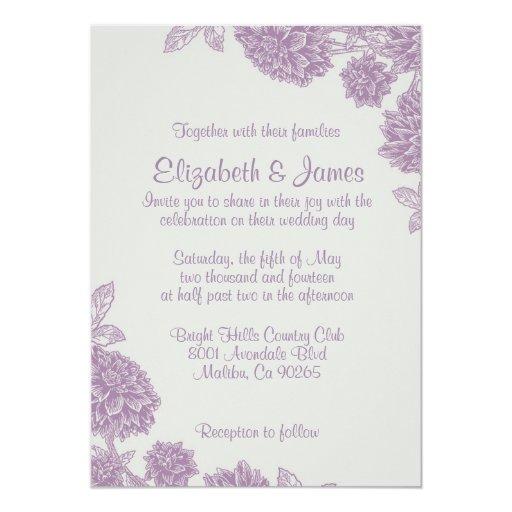 Elegant Purple Wedding Invitations: Elegant Purple Flower Wedding Invitations