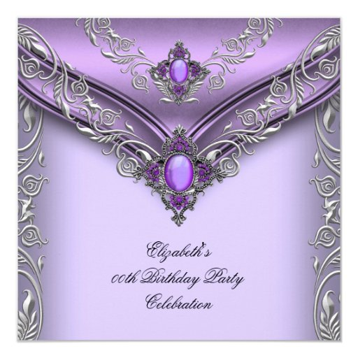 Elegant Purple Lilac Silver Jewel Birthday Party Card | Zazzle