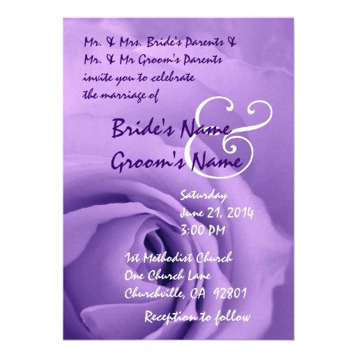 Elegant Purple Wedding Invitations: Elegant PURPLE Rose Wedding Invitation