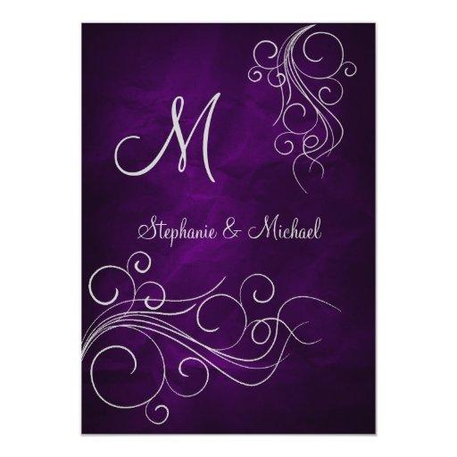 Elegant Purple Wedding Invitations: Elegant Purple Silver Monogram Wedding Invitation