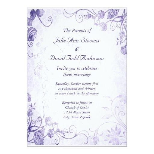 Elegant Purple Wedding Invitations: Elegant Purple Vintage Wedding Invitation