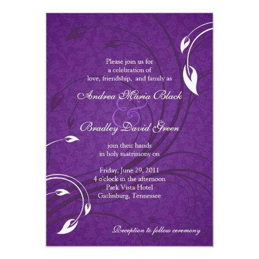 Elegant Purple Wedding Invitations: Elegant Purple White Floral Wedding Invitation