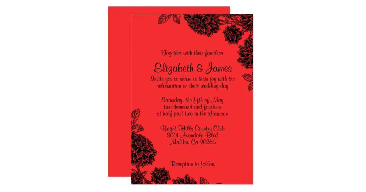 Red Black And White Wedding Invitations: Elegant Red And Black Wedding Invitations