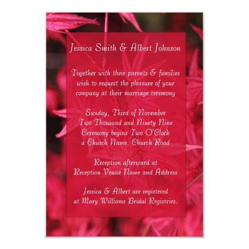 Elegant Fall Color Wedding Inviation: Elegant Red Autumn Wedding Invitation
