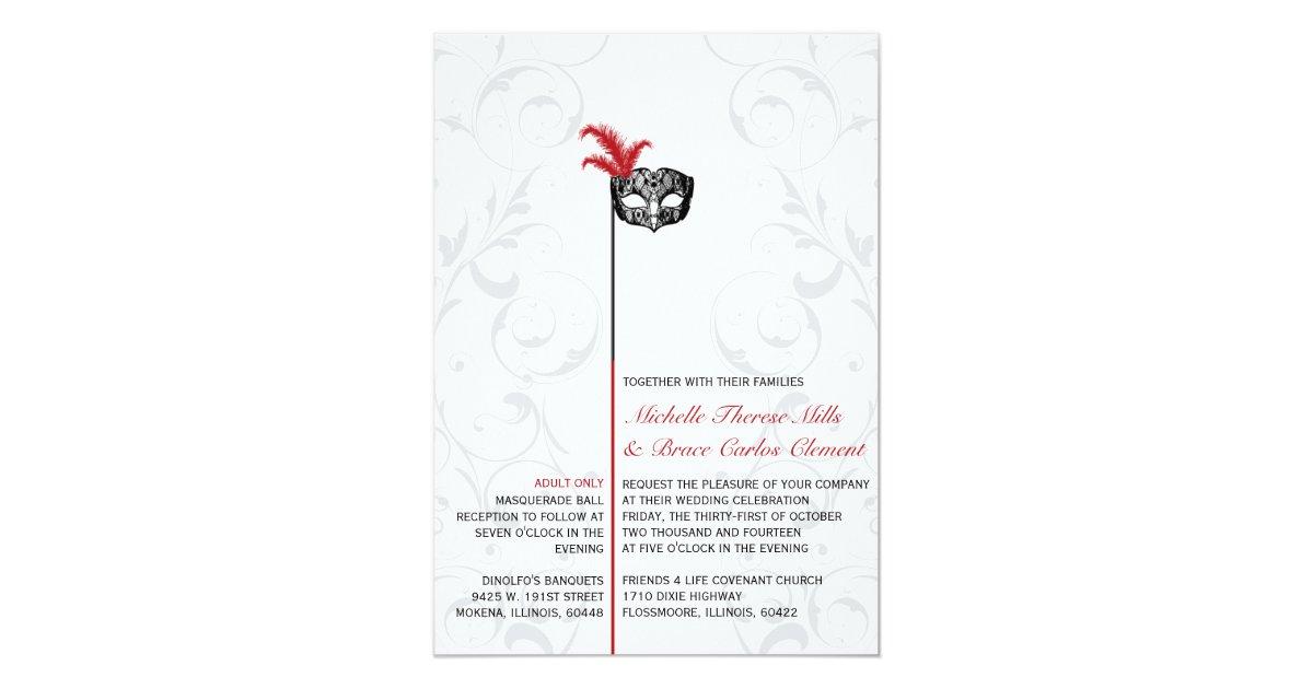 Masquerade Wedding Invitations: Elegant Red Black Masquerade Wedding Invitations