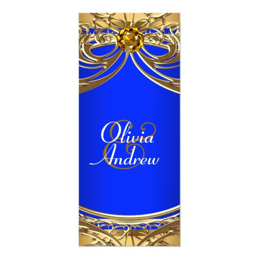 Gold And Blue Wedding Invitations: Elegant Royal Blue And Gold Wedding Personalized Invites