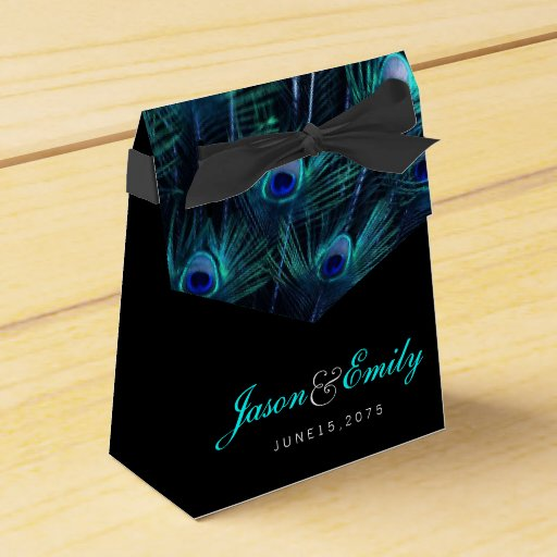 Painted Couple Peacock Wedding Gifts Unique Delicate Home: Elegant Royal Blue Peacock Wedding Party Favor Box