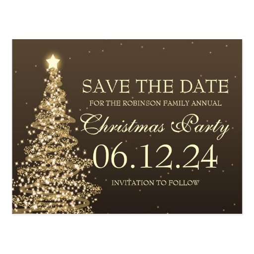 elegant save the date christmas party brown postcard  zazzle