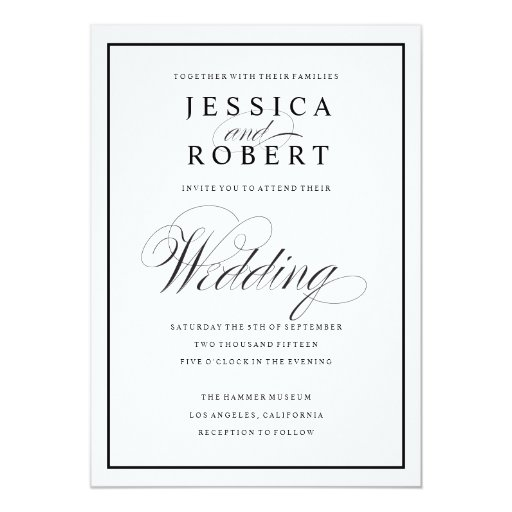 Wedding Invite Borders: Elegant Script And Black Border Wedding Invitation