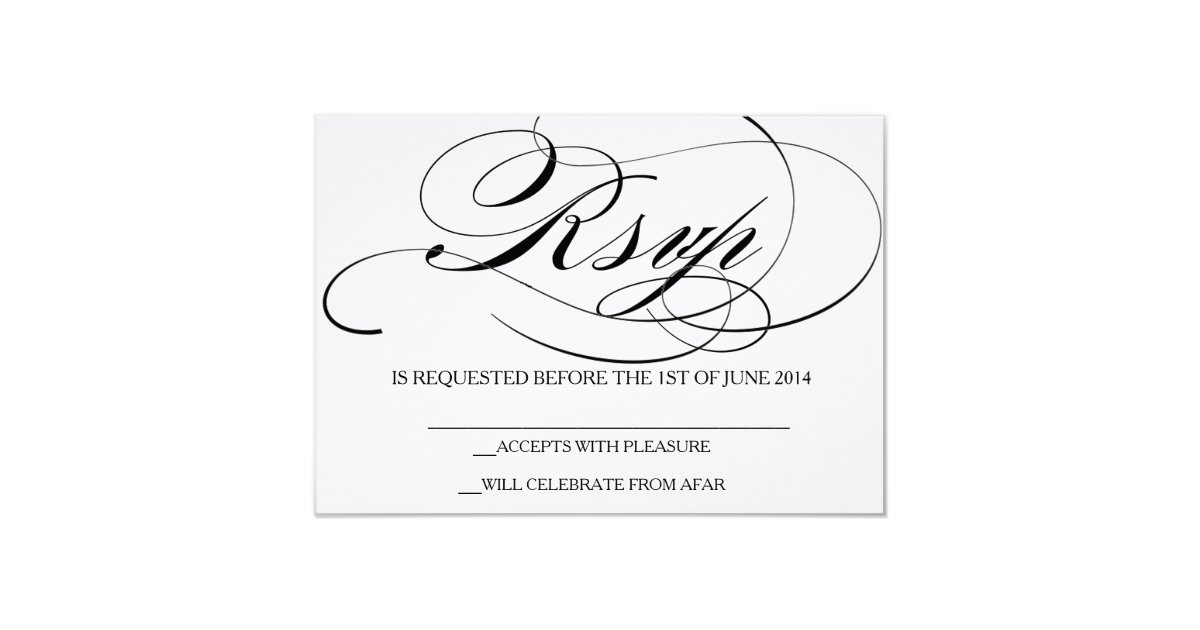 Font Used For Wedding Invitations: Elegant Script Font RSVP Card Wedding Invitation