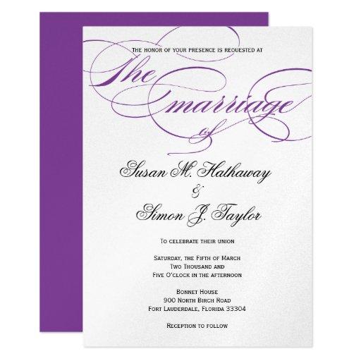 Elegant Purple Wedding Invitations: Elegant Script Wedding Invitation - Purple