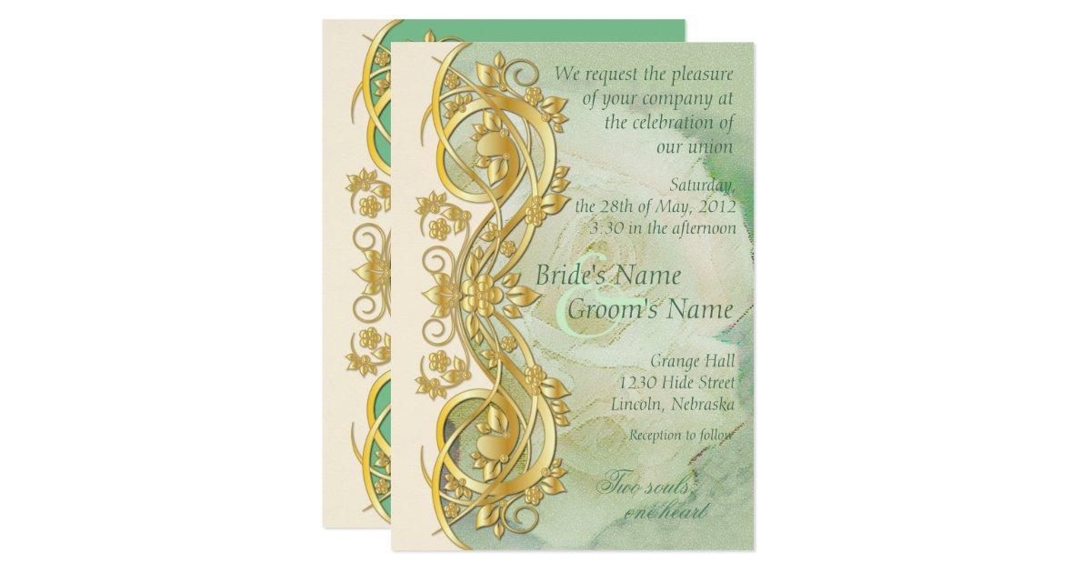Elegant Scroll Wedding Invitation Mint Green 2 Zazzle