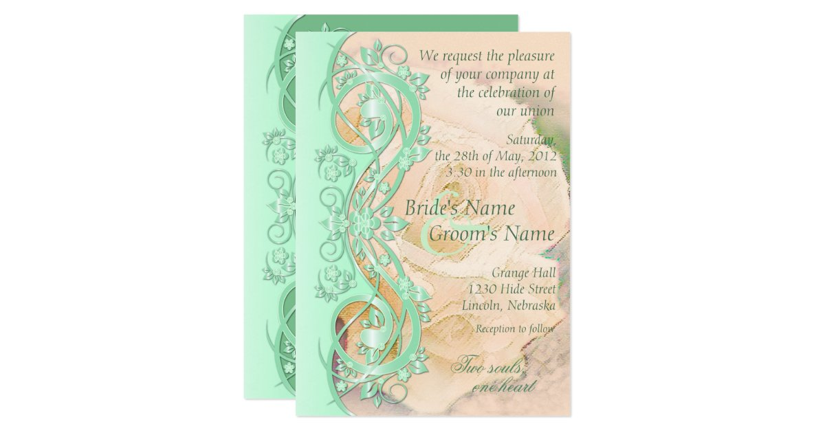 Mint Green And Gold Wedding Invitations: Elegant Scroll Wedding Invitation-Mint Green Peach Card