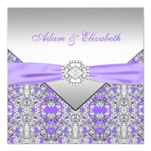 Silver And Purple Wedding Invitations: Elegant Silver And Lavender Purple Lace Wedding Invitation