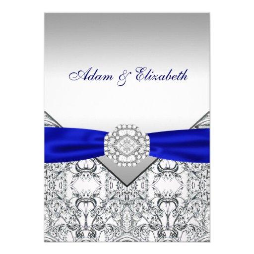 Elegant Silver and Royal Blue Wedding Invitations | Zazzle