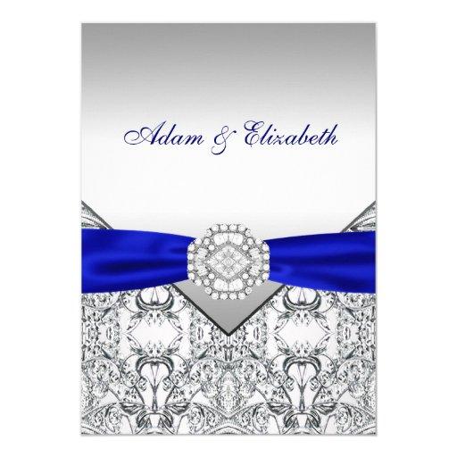 Wedding Invitations Blue And Silver: Elegant Silver And Royal Blue Wedding Invitations