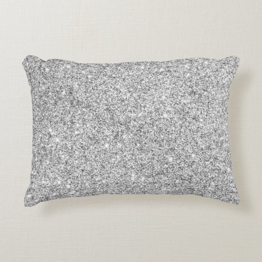 Elegant Silver Glitter Decorative Pillow Zazzle