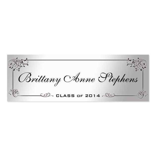 elegant silver graduation name card insert business card