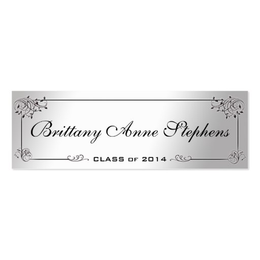 Elegant silver graduation name card insert double sided for Double sided place card template