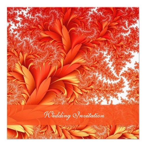 Elegant Fall Color Wedding Inviation: Elegant Swirls Orange Autumn Wedding Invitation 5.25