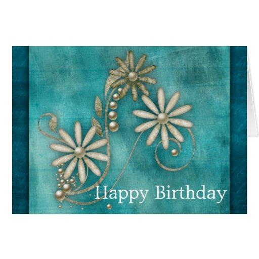 Elegant Teal Blue Happy Birthday Greeting Card
