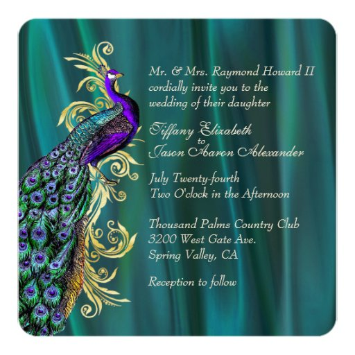 Www Zazzle Com Wedding Invitations: Elegant Teal Satin And Peacock Wedding Invitation