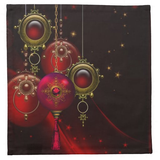 Red And Gold Christmas Trees: Elegant Tree Ornament Red Gold Christmas Napkins