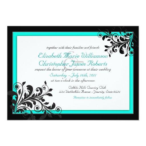 Wedding Invitations Turquoise: Elegant Turquoise Wedding Invitation