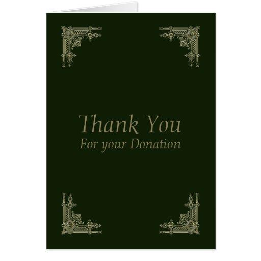 elegant vintage 2 thank you for donation card  zazzle