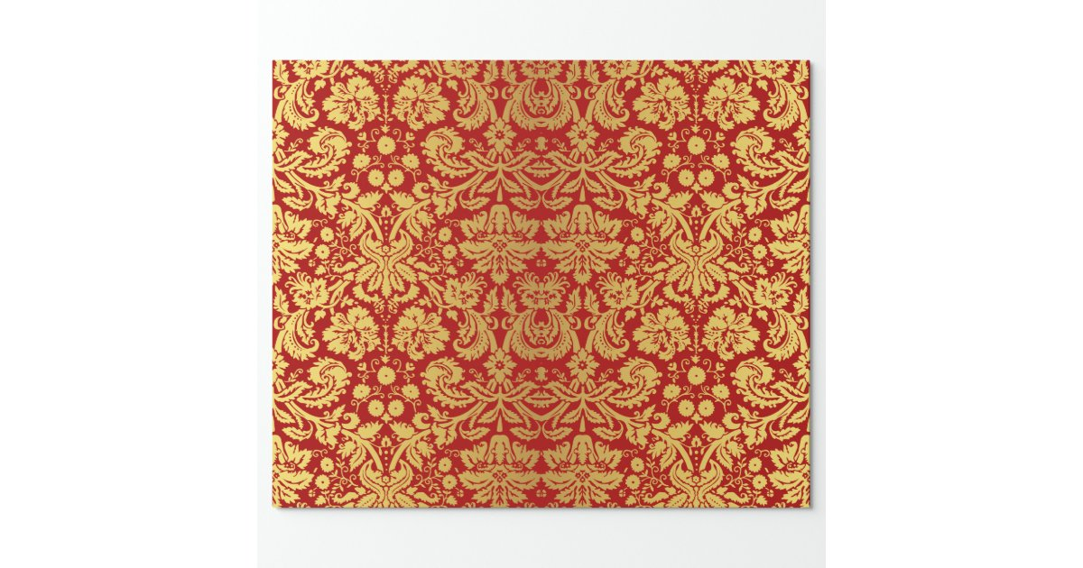 Elegant Vintage Red And Gold Royal Damask Pattern Wrapping