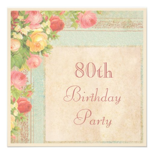 Elegant Vintage Roses 80th Birthday Party Personalized Invites