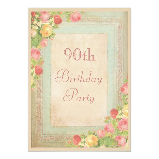 Elegant Vintage Roses 90th Birthday Party Personalized Invites