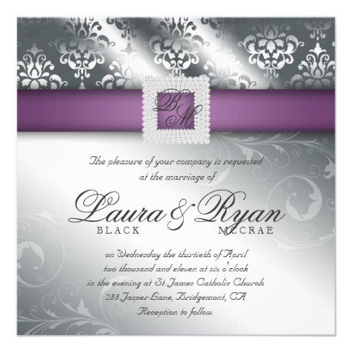 Purple And Silver Wedding Invitations: Elegant Wedding Damask Jewel Purple Silver Personalized