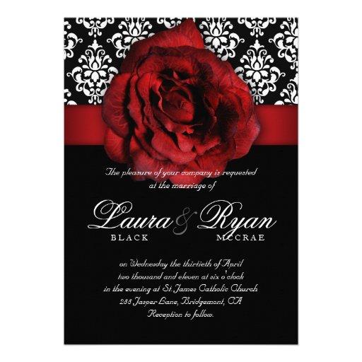 Wedding Invitations Red White And Black: Elegant Wedding Damask Red Rose Black White 5x7 Paper